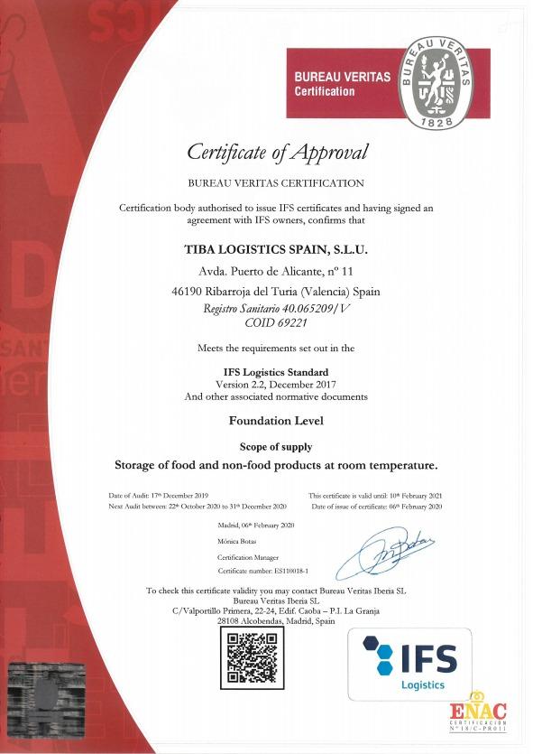 Certificacion IFS TIBA Logistics